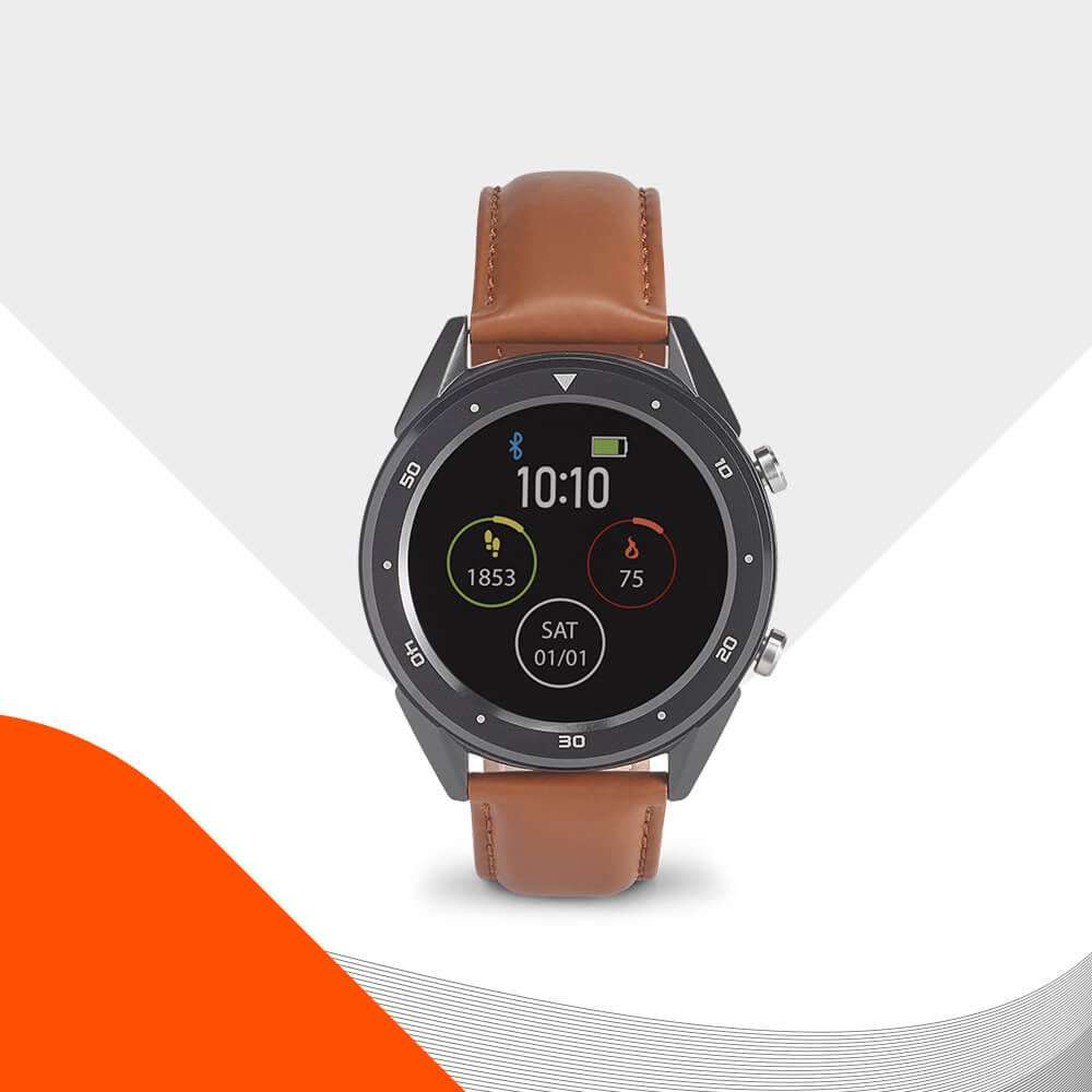 Ekston THIKER II smart watch. Modern and elegant design with leather strap.